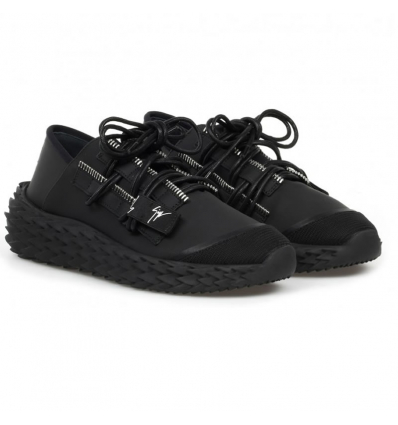 GIUSEPPE ZANOTTI URCHIN LOW TOP BLACK LEATHER SNEAKERS - 738AW19/20