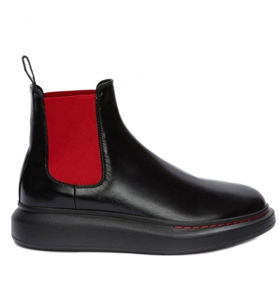 ALEXANDER MCQUEEN BLACK RED HYBRID CHELSEA BOOT - 803AW19/20