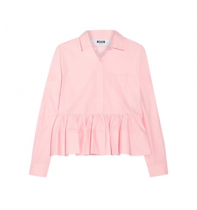 MSGM stretch cotton blend poplin peplum shirt