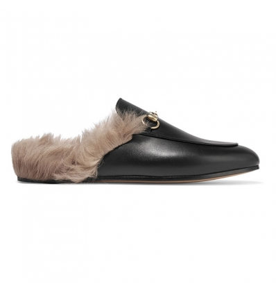 Gucci Horsebit detailed shearling lined leather slippers