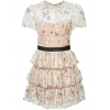 Self-Portrait floral embroidered tiered dress - 82SS18