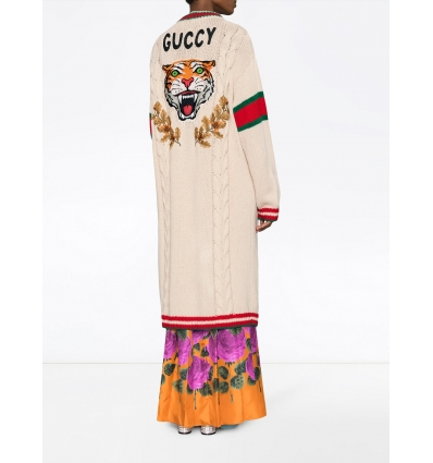 Gucci Embroidered chunky cable knit cardigan - 133SS18