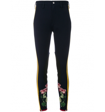 Gucci flower embroidered stripe leggings - 134SS18