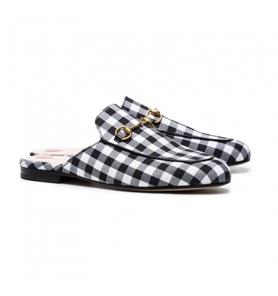 Gucci Black Gingham Princetown Mules - 156SS18