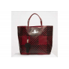 VIVIENNE WESTWOOD LEATHER SHOPPER CRINI CHECK RED - 356SS19