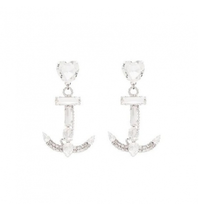 ALESSANDRA RICH Anchor crystal-embellished earrings - 362SS19