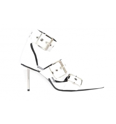 BALENCIAGA Belt Ankle Strap Pump in white leather - 439SS19