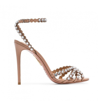 AQUAZZURA pink Tequila 105 suede crystal embellished high heels - 484AW19/20
