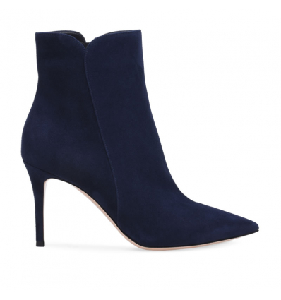 Gianvito Rossi pointed toe ankle bootie - denim blue suede - 525AW19/20