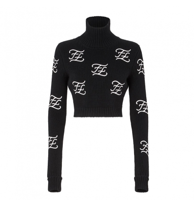 FENDI PULLOVER Black wool and cashmere jumper - 770AW19/20
