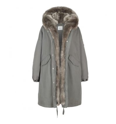 LEMPELIUS LONG OVERSIZED COTTON PARKA WITH FAUX FUR IN MILITARY GREEN - 772AW19/20