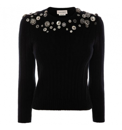 ALEXANDER MCQUEEN BLACK BUTTON DETAIL SWEATER - 794AW19/20