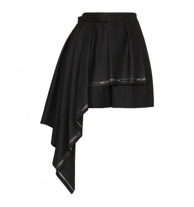 ALEXANDER MCQUEEN high waisted asymmetric front shorts - 797AW19/20