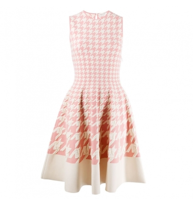 ALEXANDER MCQUEEN houndstooth print pleated dress- 798AW19/20