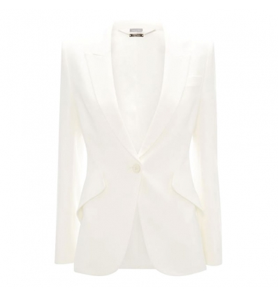 ALEXANDER MCQUEEN IVORY LEAF CREPE JACKET - 799AW19/20