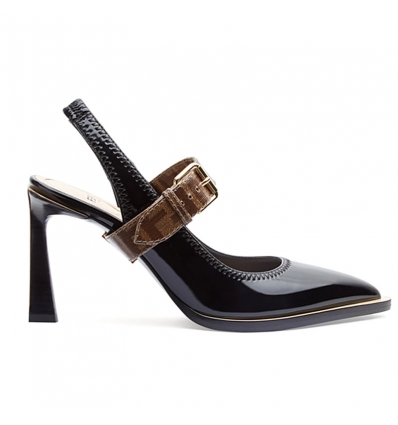 FENDI Slingbacks in glossy black neoprene - 838ASS20