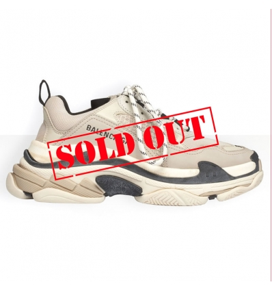 BALENCIAGA Triple S Sneaker in beige and black calfskin - 987ASS20