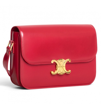 CELINE RED MEDIUM TRIOMPHE BAG IN SHINY CALFSKIN - 1065ASS20