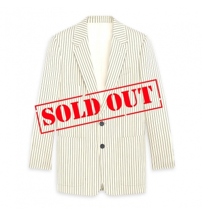 CELINE CLASSIC JACKET 2 BUTTONS STRAIGHT UP WITH PATCH POCKETS IN STRIPED WOOL BLEND - 832ASS20