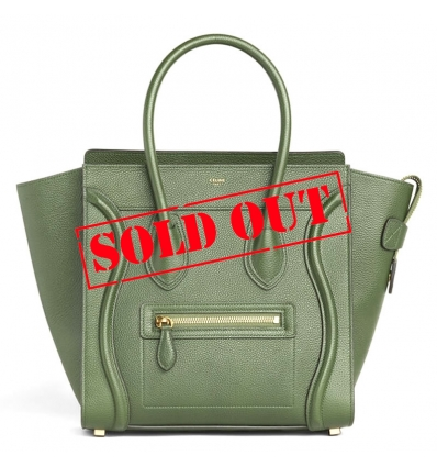 ( SOLD OUT ) CELINE MICRO LUGGAGE HANDBAG IN DRUMMED CALFSKIN LIGHT KHAKI - 826ASS20