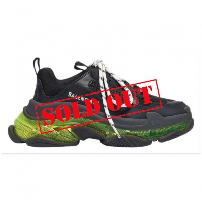BALENCIAGA Triple S Clear Sole Sneaker in black and neon yellow calfskin - 986ASS20