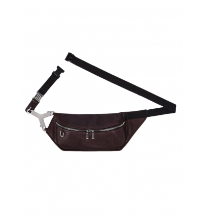 RICK OWENS BUMBAG IN BURGUNDY CALF LEATHER  - 1360AW2021