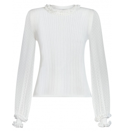 FENDI FZX526AD5L WHITE RUFFLE TRIM KNITTED TOP   - 1493AW2021