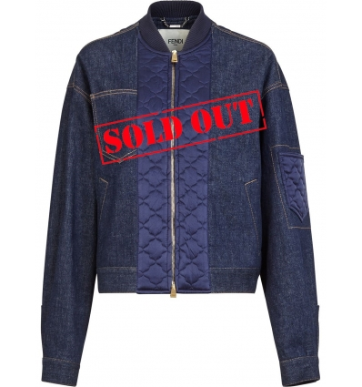 FENDI FLF619AD9C QUILTED SATIN INSERT DENIM JACKET - 1489AW2021