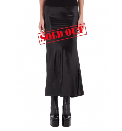 RICK OWENS 2344HY GRACE SKIRT IN BLACK SILK - 1365AW2021