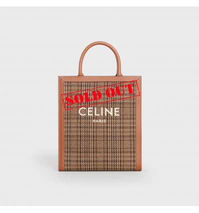 CELINE 192082CXG.19RT BROWN SMALL VERTICALCABAS IN TEXTILE WITH CELINE EMBROIDERY CALFSKIN  - 1624AW2021