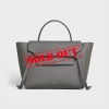 CELINE 189103ZVA.10DC GREY MINI BELT BAG IN GRAINED CALFSKIN - 1626AW2021