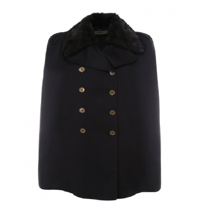 FENDI FF8766AC5XF0GME BLACK DOUBLE-BREASTED WOOL AND SILK CAPE - 1730AW2021