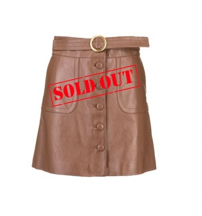 CELINE 291D2H22404CA LEATHER SKIRT IN BROWN  - 1640AW2021