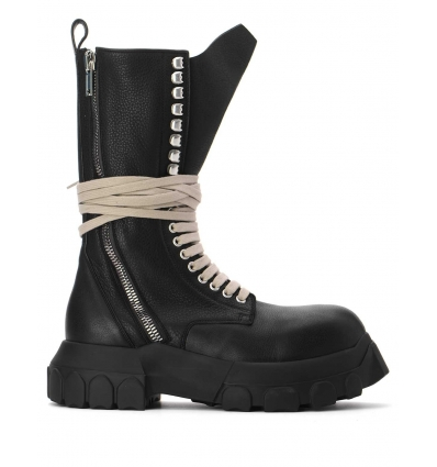 RICK OWENS RP02A788LDE BLACK PHLEGETHON BOZO TRACTOR BOOTS - 2452AW21/22