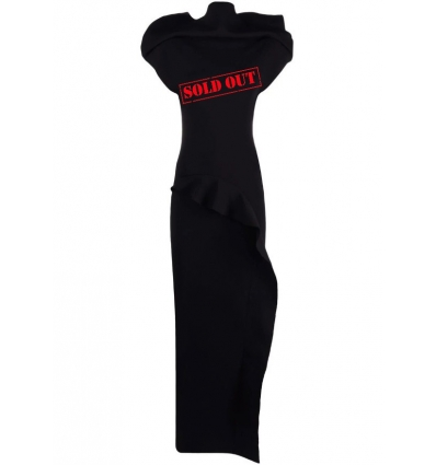 RICK OWENS RP02A7676KST BLACK EXAGGERATED-SHOULDER RUFFLE DRESS - 2434AW21/22