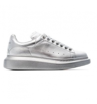ALEXANDER MCQUEEN silver chunky low-top leather sneakers