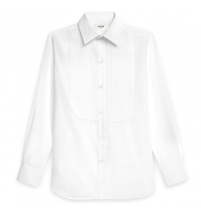 CELINE SKINNY SHIRT IN COTTON POPELINE WITH PLASTRON AND DRUGSTORE COLLAR - 470SS19