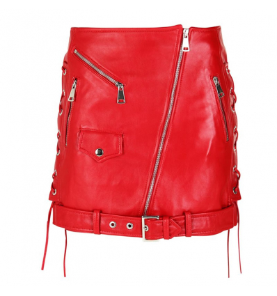 MANOKHI BIKER2 RED SKIRT - 476SS19