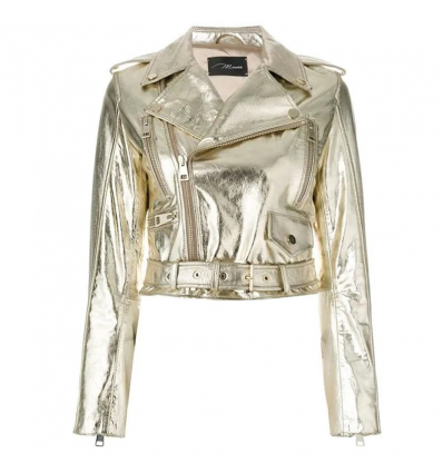 MANOKHI cropped biker jacket - 479SS19